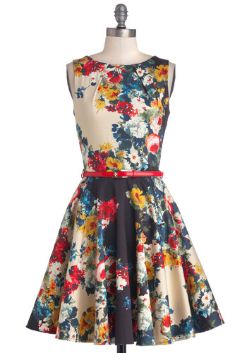 Luck Be a Lady Dress in Garden - Floral, Belted, A-line, Sleeveless, Better, Boat, Mid-length, Cotton, Woven, Party, Multi, Exposed zipper, Variation, Gifts Sale