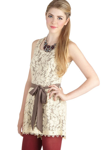 Rare Book Fair Romper - Long, Woven, Cream, Tan / Cream, Solid, Cutout, Lace, Belted, Strapless, Scoop