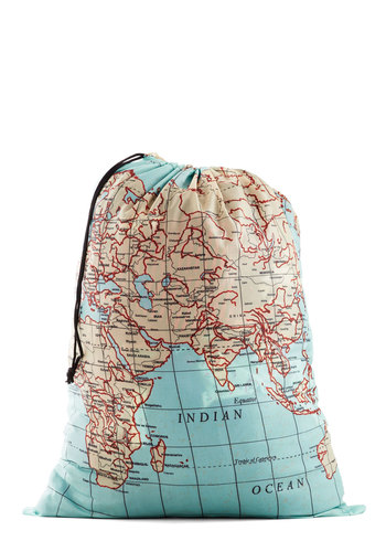 Where It's Atlas Laundry Bag by Kikkerland - Woven, Multi, Travel, Good, Novelty Print