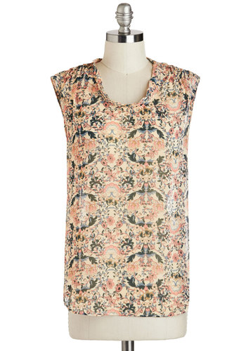 Art S.V.P. Top - Sheer, Mid-length, Multi, Green, Blue, Pink, Tan / Cream, Print, Work, Casual, Sleeveless, Scoop