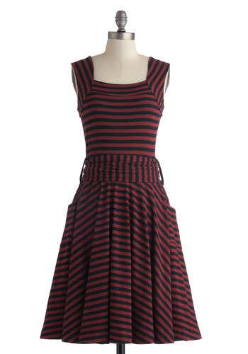 Guest of Honor Dress in Varsity Stripes by Effie's Heart - Black, Stripes, Belted, Casual, Pockets, A-line, Variation, Cotton, Long, Red, Better, Sleeveless