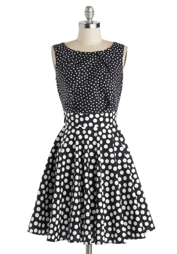 Pop Fizz Dress by Closet - Black, White, Polka Dots, Party, A-line, Better, Cotton, Woven, Social Placements, Mid-length