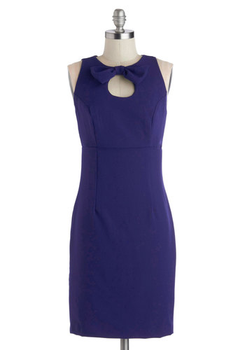 Haute Happening Dress - Blue, Solid, Bows, Party, Sheath / Shift, Tank top (2 thick straps), Good, Crew, Knit, Cutout, Work, Cocktail, Mid-length
