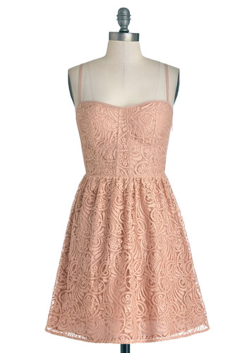 Stylish Sophisticate Dress - Pink, Solid, Bows, Lace, Daytime Party, Sundress, A-line, Spaghetti Straps, Better, Sweetheart, Short, Knit, Party, Pastel