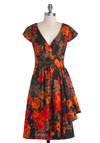 Tracy Reese Elegance Ablaze Dress by Tracy Reese - Woven, Long, Orange, Black, Floral, Party, A-line, Cap Sleeves, Best, V Neck, Ruffles, Luxe