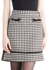 Executive Sweet Skirt by Knitted Dove - Checkered / Gingham, Bows, Work, Vintage Inspired, Scholastic/Collegiate, A-line, Short, Woven, Trim, Black, White, Black, White
