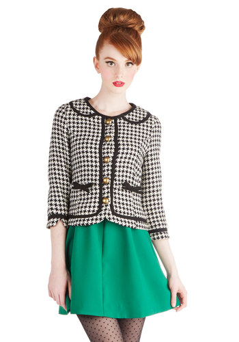 Executive Sweet Jacket by Knitted Dove - Checkered / Gingham, Bows, Buttons, Pockets, Work, Vintage Inspired, Collared, 1, Woven, Short, Peter Pan Collar, Trim, 3/4 Sleeve, Black, Multi