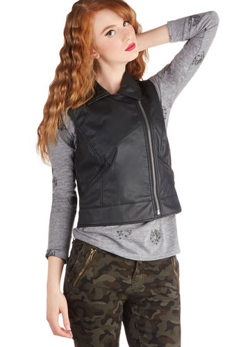 On Your Vest Behavior by Jack by BB Dakota - Short, Faux Leather, Black, Solid, Exposed zipper, Pockets, Urban, 90s, Black
