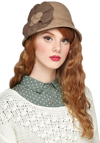 Chai Something New Hat - Solid, Flower, Vintage Inspired, 20s, 30s, Better, Tan, Brown, Fall