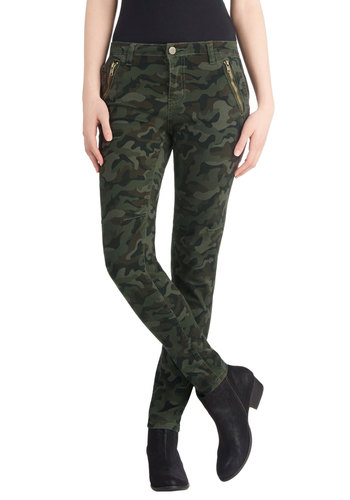 Take the Day Train Pants in Camo - Cotton, Denim, Woven, Military, Skinny, Green, Brown, Print, Pockets, Casual, Better, Exposed zipper, 90s