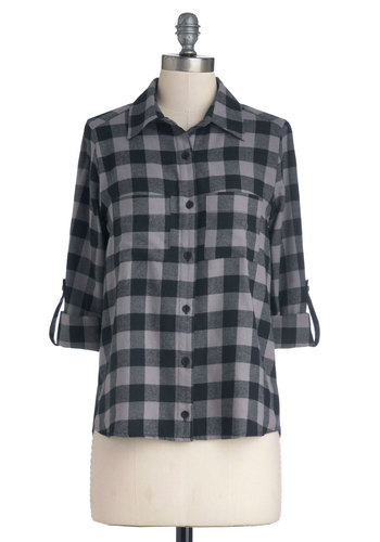 Checks Mark the Spot Top - Checkered / Gingham, Long Sleeve, Good, Cotton, Woven, Mid-length, Black, Grey, Buttons, Pockets, Casual, Collared, 90s, Grey, Tab Sleeve