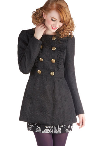 Stately Supper Coat in Black Brocade - Long, Woven, 2, Black, Solid, Buttons, Pockets, Ruffles, Military, French / Victorian, Double Breasted, Long Sleeve, Variation, Black