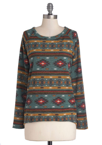 Mountain Poise Sweater - Mid-length, Knit, Red, Yellow, Black, White, Print, Rustic, Long Sleeve, Scoop, Multi, Blue, Fall, Folk Art, Multi, Long Sleeve
