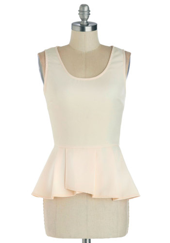 Down to a Refined Art Top in Ivory - Cream, Solid, Peplum, Sleeveless, Good, Mid-length, Woven, Party, Work, Daytime Party, Scoop, White, Sleeveless