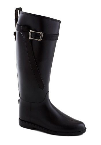 Wish You Wellie Boot - Black, Solid, Buckles, Low, Good, Casual, Minimal, Spring