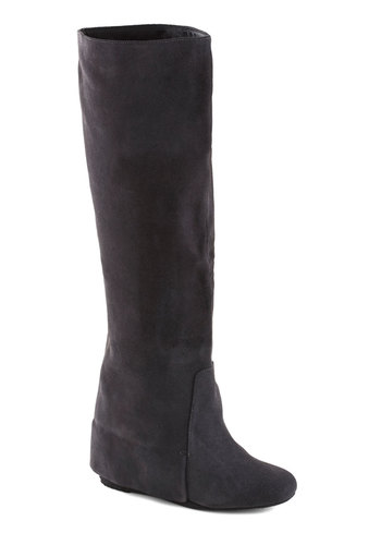Contemporary Contours Boot - Grey, Solid, High, Best, Wedge, Suede, Leather