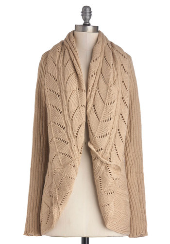Purl Up With Me Cardigan in Beige - Mid-length, Knit, Tan, Solid, Knitted, Casual, Long Sleeve, Better, Variation, Brown, Long Sleeve