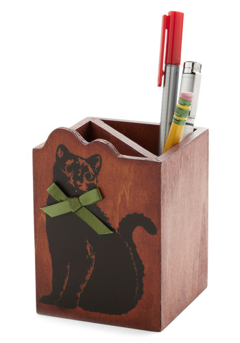 Cat-ch All Desk Organizer - Cats, Good, Brown, Green, Black, Print with Animals, Bows, Work, Halloween