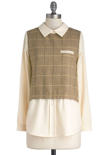 Prepared Panelist Top by Miss Patina - Mid-length, Chiffon, Woven, Tan / Cream, Scholastic/Collegiate, Long Sleeve, Collared, Brown, Yellow, Black, Herringbone, Buttons, Pockets, Work, Better, Menswear Inspired, 90s, Brown, Long Sleeve