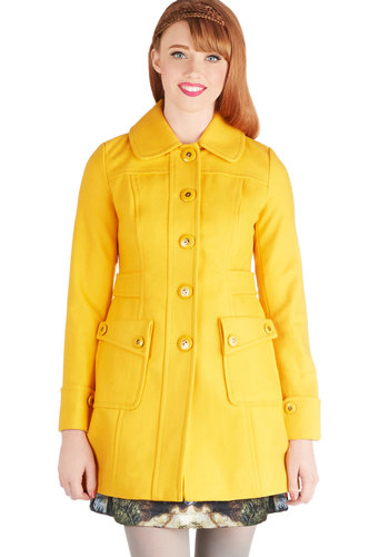 Why 'Ello There! Coat in Goldenrod by Tulle Clothing - Long, 3, Yellow, Solid, Buttons, Pockets, Long Sleeve, Good, Yellow, Long Sleeve