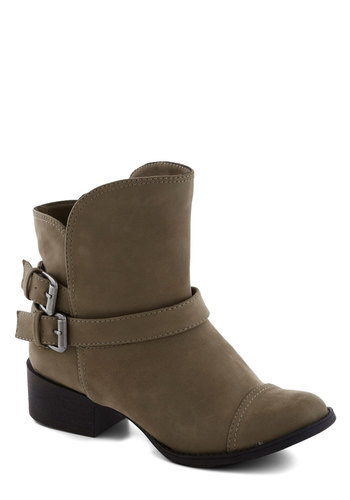 Commanding Character Bootie in Mushroom - Tan, Buckles, Low, Better, Solid, Faux Leather