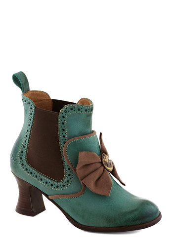 Whence Upon a Time Heel - Green, Brown, Black, Solid, Bows, Cutout, Trim, French / Victorian, International Designer, Mid, Leather, Best, Steampunk, Folk Art