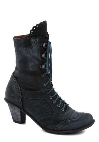 Strutting Edge Boot - Blue, Solid, Scallops, Trim, French / Victorian, International Designer, Mid, Leather, Best, Steampunk, Lace Up, Folk Art