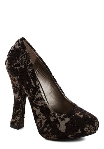 Matter of Magnitude Heel - Black, Print, High, Tan / Cream, Formal, Prom, Party, Better, Platform, Cocktail, Holiday Party