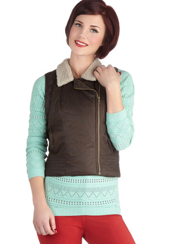 Scoot Through the City Vest by Jack by BB Dakota - Faux Fur, Short, Brown, Solid, Casual, Sleeveless, Good, Pockets, Rustic, Brown