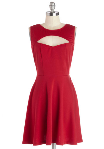 Wrapped Up in Red Dress by Jack by BB Dakota - Mid-length, Red, Solid, Cutout, Party, A-line, Sleeveless, Better, Knit