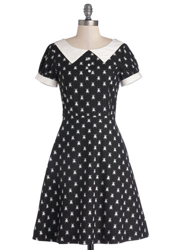 What'll It Beetle? Dress by Bea & Dot - Private Label, Cotton, Woven, Black, White, Print with Animals, Casual, A-line, Short Sleeves, Better, Collared, Peter Pan Collar, Pockets, Exclusives, Mid-length