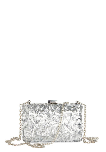 Play the Party Clutch - Silver, Solid, Sequins, Formal, Good, Party, Cocktail, Holiday Party, Statement