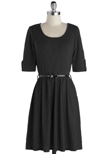 Sun-kissed Petals Dress in Black - Black, Solid, Belted, Work, Vintage Inspired, Sweater Dress, 3/4 Sleeve, Good, Scoop, Knit, Mid-length, Variation, Winter