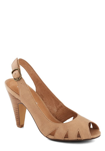 Let's Do Lattes Heel by Chelsea Crew - Mid, Faux Leather, Tan, Solid, Cutout, Better, Slingback, Party, Daytime Party, Vintage Inspired, 30s, 40s, Peep Toe, Gifts Sale