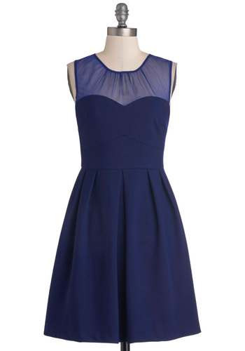 That Magic Momentum Dress - Blue, Solid, Pleats, Party, A-line, Sleeveless, Better, Sweetheart, Mid-length, Woven, Sheer
