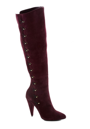 Betsey Johnson Above Expectations Boot by Betsey Johnson - Red, Solid, French / Victorian, Steampunk, High, Best, Leather, Luxe, Suede