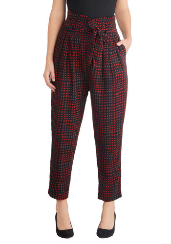 Lair and Square Pants - Blue, Checkered / Gingham, Good, Pleats, Pockets, Belted, 60s, High Waist, Cropped, Red, Vintage Inspired, Woven, Menswear Inspired