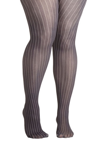 Earn Your Pinstripes Tights in Plus Size by Look From London - Grey, Tan / Cream, Stripes, Sheer, Knit