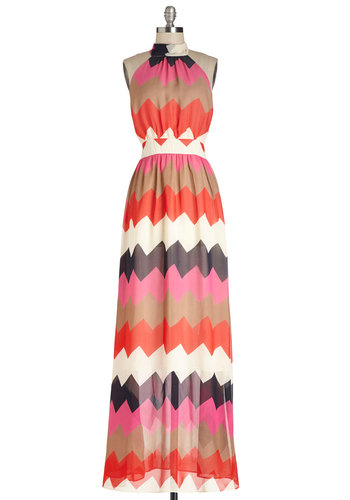 Colorful of Fun Dress - Chevron, Casual, Maxi, Better, Collared, Multi, Halter, Chiffon, Sheer, Woven, Long, Beach/Resort, Summer