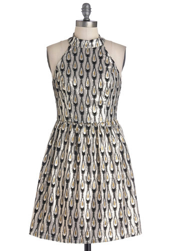 Grooves and Moves Dress - Mid-length, Woven, Silver, Black, Gold, Print, Cutout, Sequins, Party, A-line, Sleeveless, Better, Cocktail, Holiday Party