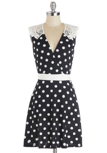 Everlasting Loveliness Dress in Dots - Mid-length, Knit, Black, White, Polka Dots, Crochet, Party, A-line, Sleeveless, Good, V Neck, Sheer, Top Rated