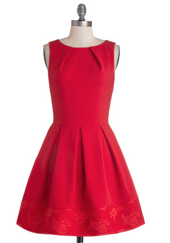 Quite Taken Dress by Closet - Woven, Red, Solid, Lace, Party, A-line, Sleeveless, Exposed zipper, Pockets, Boat, Gifts Sale, Mid-length