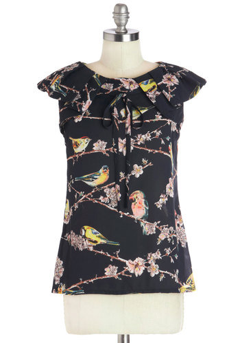 Aviary Important Date Top - Mid-length, Chiffon, Sheer, Woven, Yellow, Blue, Tan / Cream, Tiered, Tie Neck, Cap Sleeves, Better, Collared, Black, Pink, Print with Animals, Black, Short Sleeve, Press Placement, Bird, Woodland Creature