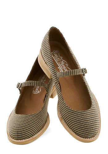 Amuse-Mint Park Flat in Houndstooth by Jeffrey Campbell - Tan, Multi, Plaid, Low, Best, Mary Jane, Scholastic/Collegiate, Variation, Woven