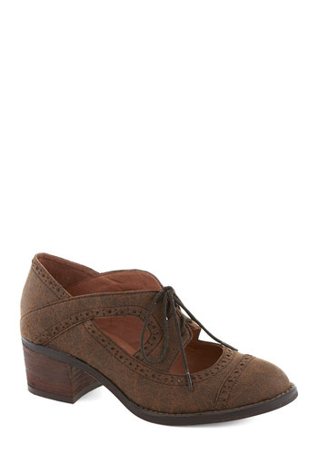 House Concert Hostess Heel in Brown by Jeffrey Campbell - Brown, Cutout, Menswear Inspired, Best, Lace Up, Mid, Faux Leather, Variation