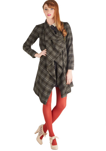Professor Drape Coat - Woven, 2, Brown, Plaid, Buckles, Steampunk, Long Sleeve, Best, Scholastic/Collegiate, Fall, Brown, Long