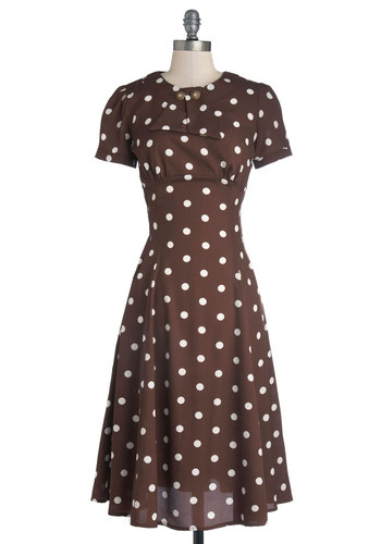 Believe It or Dot Dress in Brown - Brown, White, Polka Dots, Vintage Inspired, A-line, Short Sleeves, Better, International Designer, Scoop, Buttons, Work, Woven, 40s, 50s, Long
