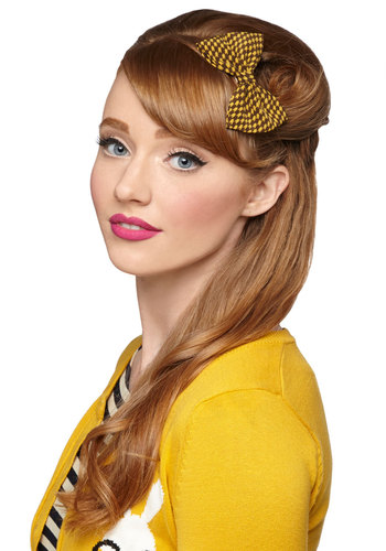 Darlin' Detail Hair Clip in Yellow Houndstooth - Yellow, Brown, Houndstooth, Bows, Scholastic/Collegiate, Variation