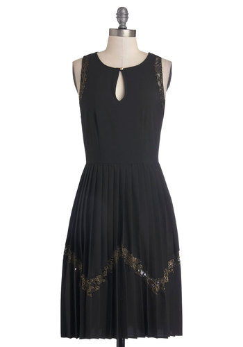 Dazzling Effect Dress - Long, Woven, Black, Gold, Cutout, Lace, Party, A-line, Tank top (2 thick straps), Good, Scoop, Pleats, Cocktail, Sheer