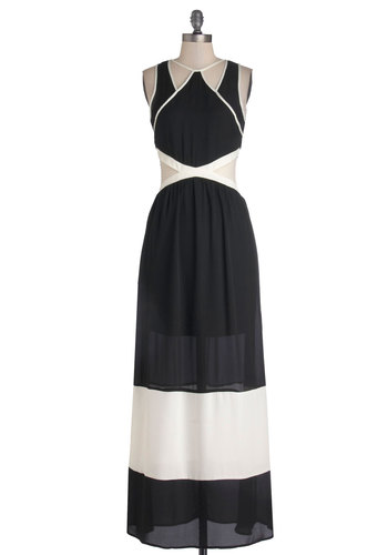 Infinite Winsome Dress - Woven, Black, White, Cutout, Party, Maxi, Sleeveless, Good, Colorblocking, Sheer, Long